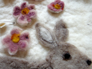 felted roses and rabbit